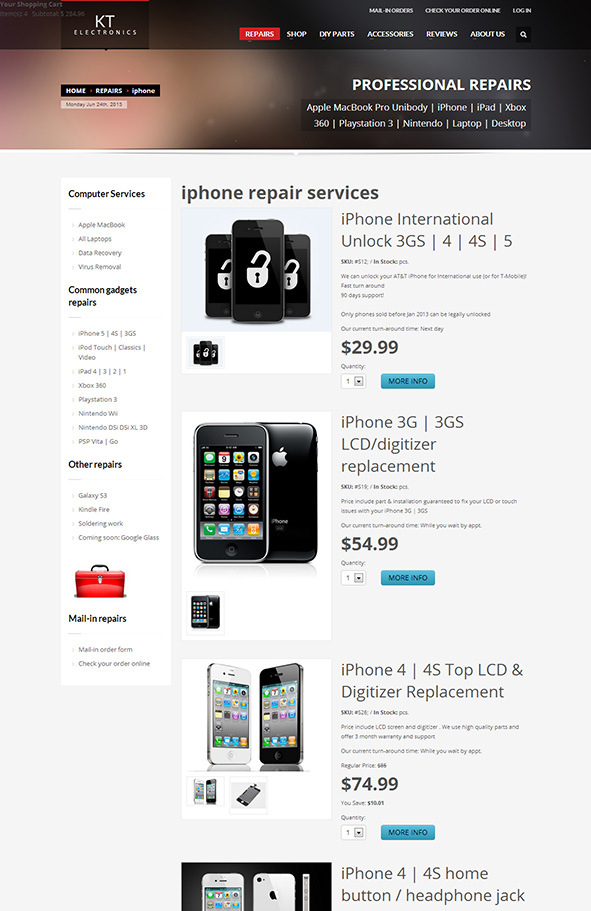 KT Electronics new website