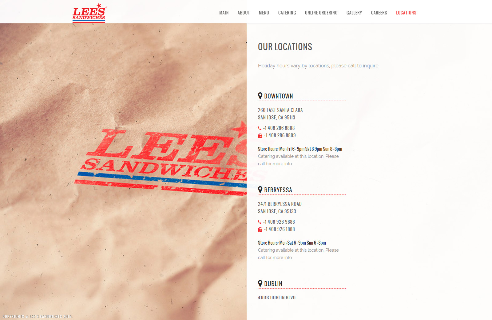 Lee's Sandwiches New Website