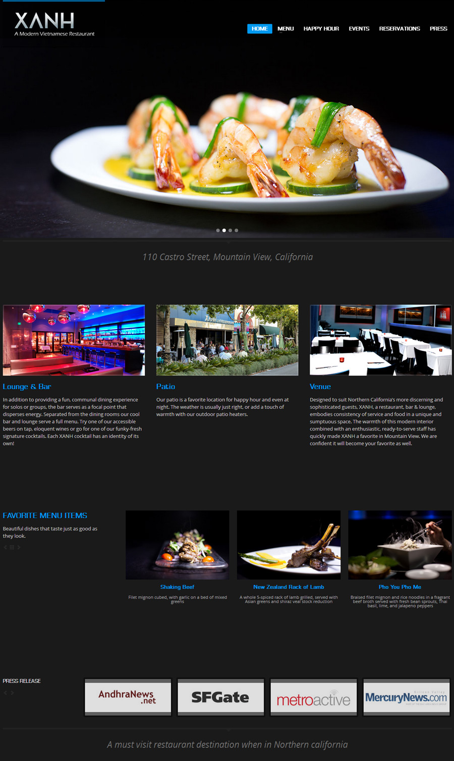 Xanh Restaurant New Website
