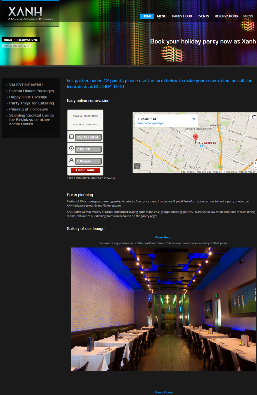 Xanh Restaurant New Website